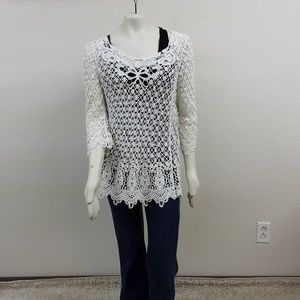 NWT Fever Off White Crocheted Top Sz L